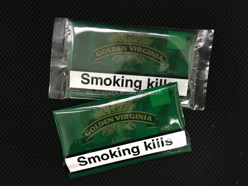 gold virginia rolling tobacco bag/self adhesive sealed gv rolling tobacco bags
