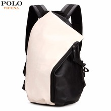 VICUNA POLO Brand Preppy Style PU Leather Mens Backpack Fashion Laptop Day Backpack For College