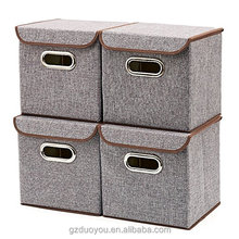 Decorative Linen Fabric Covered Foldable Storage Boxes Bins Cubes Baskets