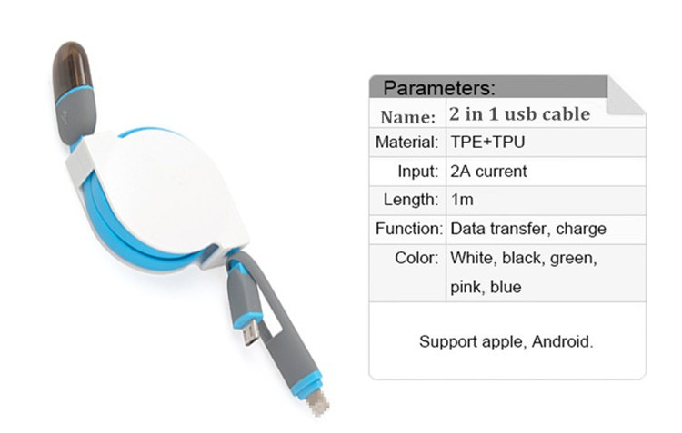 Hot selling 1m retractable data cable 2in1 usb cable for iphone and Android