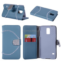 sophisticated Diamon decorated pu leather phone case for samsung s5