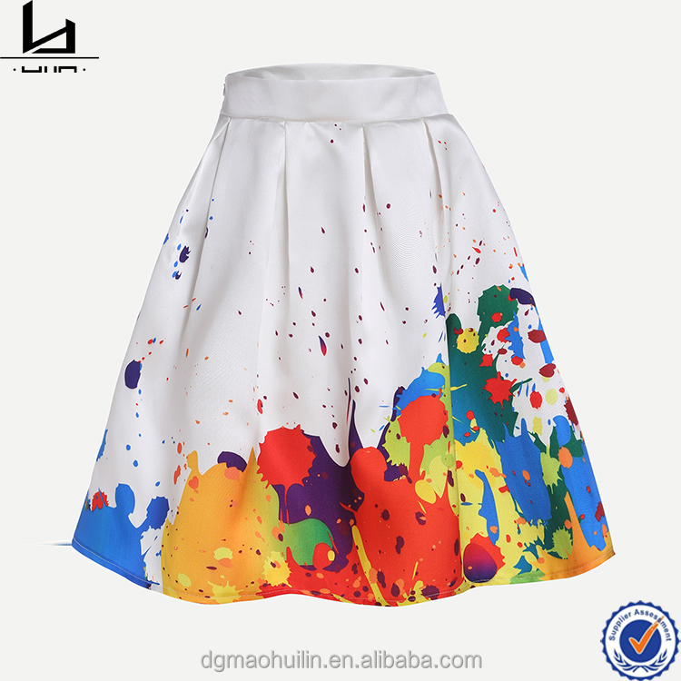 China supplier white paint splatter print box pleat skirts