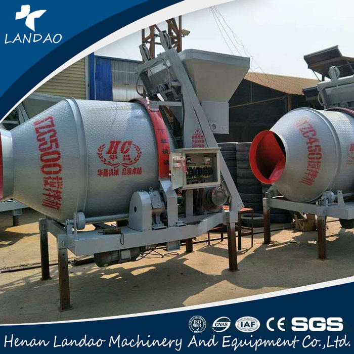 Reversal Discharge Portable Self-falling Concrete Mixer With Gearbox