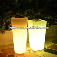 Fancy Decorative led light garden flower pot plastic tube flower vase