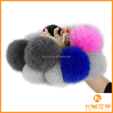 Fashion design factory wholesale fox fur pompoms keychain lovely keychain with fur pompoms KZ151001