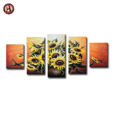 5 Panels Flower Wall Art Unframed Sunflowers Picture Modern Abstract Oil Painting on Canvas