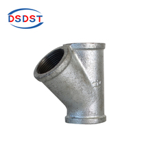 Hot dip galvanized Y Branch 45 degree mallebale iron pipe fitting Tee for changing direction