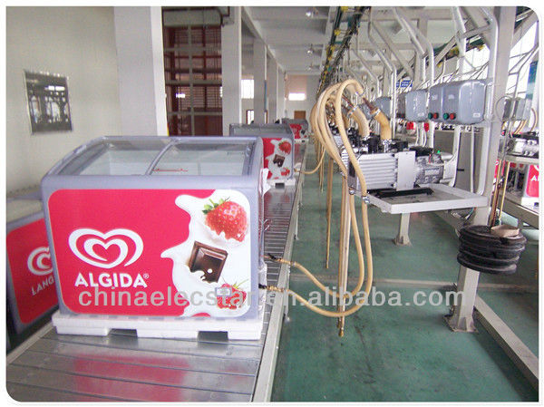 New design streamline body commercial curved glass door chest freezer showcase /ice cream freezer