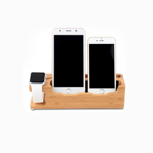 Multi-functional 2 in 1 Wooden Stand Smart Watch Holder Phone Charging Station