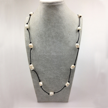 PE0023 Personal Leather Cord Knotted 32 inch Real Pearl Necklace Handmade Knotted Pearl necklace
