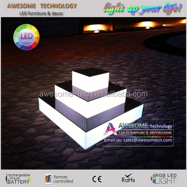 Lighted transparent acrylic cupcake stand with led for wedding