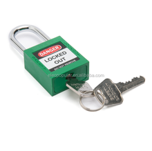 China manufacturer 38mm hardened steel shackle nylon lock body keyed differ with master key lockout safety padlock