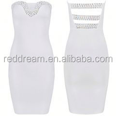 White bandage dress for party celebrity red carpet dress lace