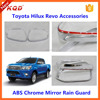 toyota hilux accessories chrome/black door mirror trims cover for toyota hilux revo car mirror rain guard for hilux revo 4x4