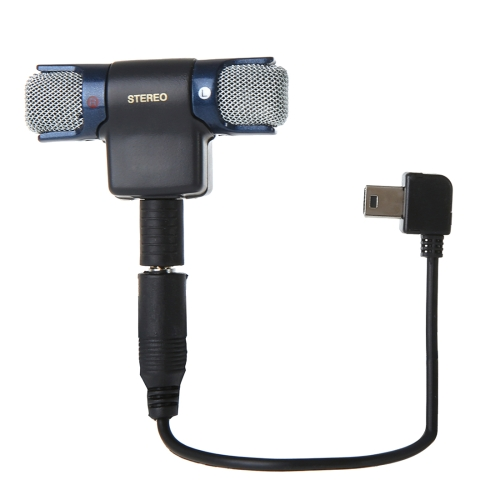 External Mini Stereo MIC Microphone with 17CM 3.5mm to Mini USB 10 Pin Adapter Cable for H ERO 4 / 3+ / 3, Microphone Size: