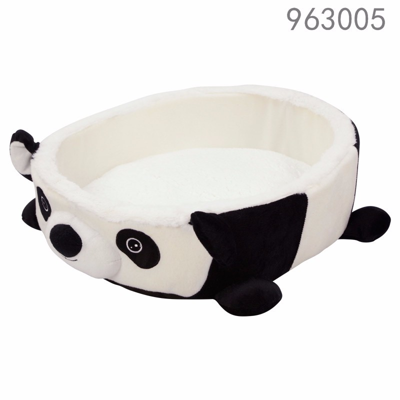 High quality cheap soft panda animal shape round foam dog beds