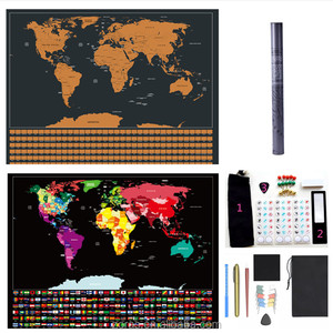 2018 ZORAS New Arrival Design 2 Normal Design Combined Scratch Off Travel Map with National Flag Print&Instruction Book