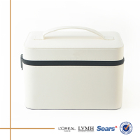 Awesome low price white leather empty cosmetic box makeup kit with zipper