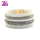 online hot sell china vendor multilayer leather bracelet crystal bangle bracelet