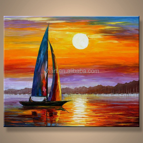 Hot Sell Newest Art Painting Handmade Canvas Oil Painting Boats