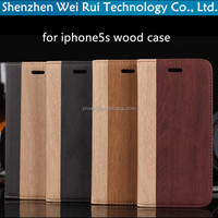 hot sale wood cover for apple 5s stand flip pu leather for iphone 5s case