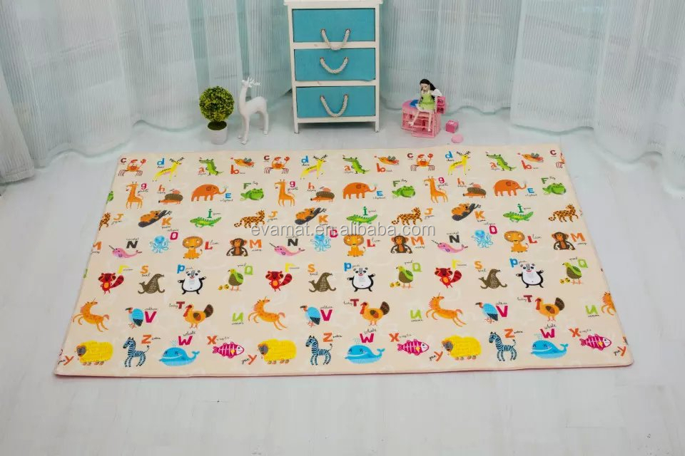 15mmThick Foam Color Printed Foldable PU or PVCFoam Baby Play Floor Mats