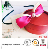 stain ribbon knitted bow headband fancy baby headbands for girls