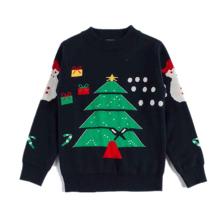 Christmas Snowman Knitted Sweater For Boys And Girls Winter Sweaters Kids  Outwear Double Cotton Pullover