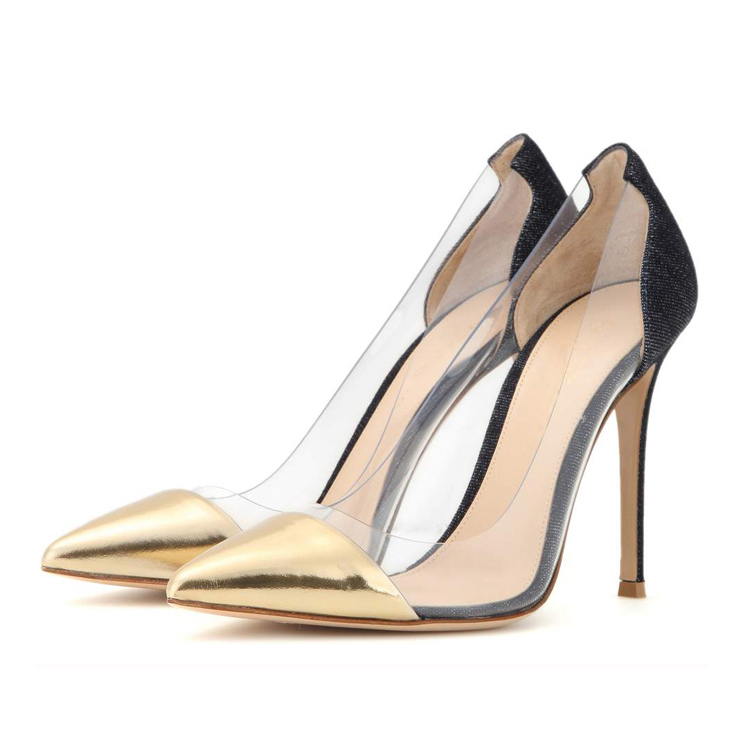 factory china shoes retailer high quality wholsale 11cm thin high heel suede canvas metal upper transparent shoes