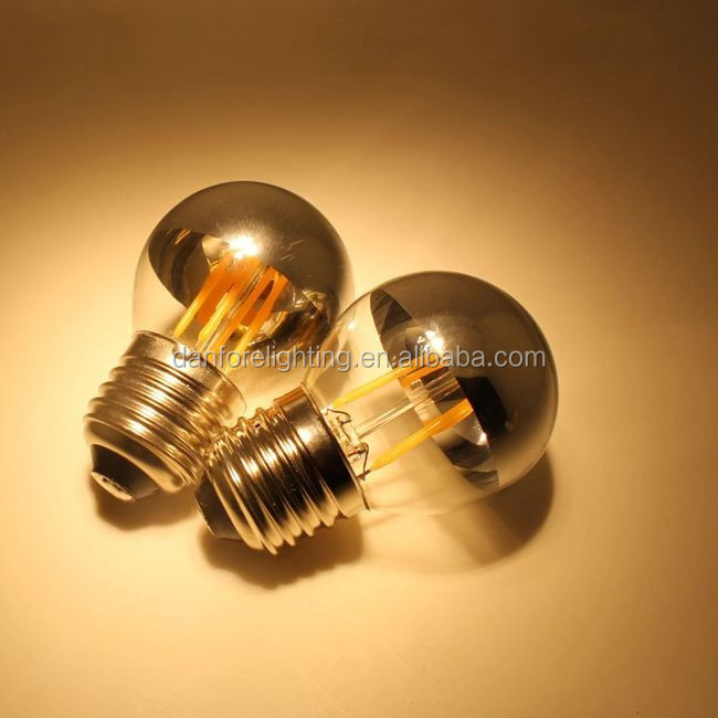 2W 3.5W G45 P45 Shadowless filament led bulb with silver top/golden top