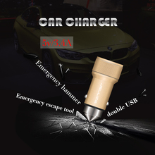 car accident escape tool 2 usb port alluminum alloy housing micro usb in car charger 5v 3.4a for mobile phone