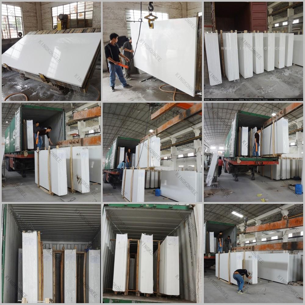 2016 hot super white glossy quartz stone from China KKR factory