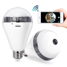 Hot!!! 960P hidden camera light Bulb FishEye Smart Home CCTV 3D 360 degree VR Camera 1.3MP Home Security WiFi Camera Panoramic