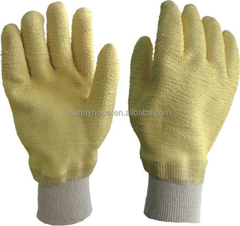 Knit wrist full coated high quality latex gloves