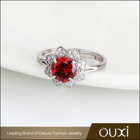 OUXI Best Deal Silver Ring With Big Red Stone For Girls