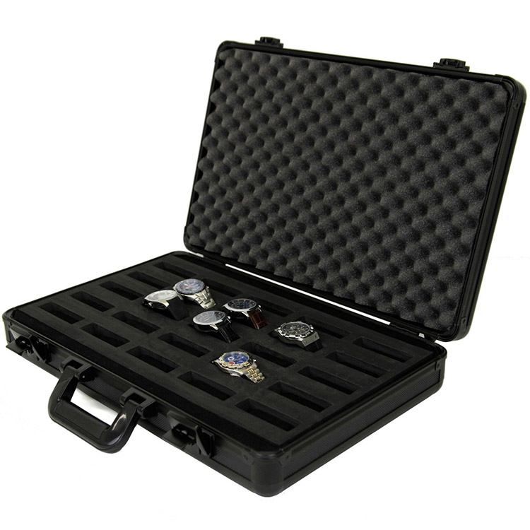 Excellent quality all black 25 timepieces custom-made aluminum travel watch case
