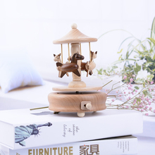 Wooden Rotating Carousel Horse Music Box