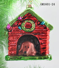 2015 Hanging Glass Dog House Ornament For Christmas Gifts