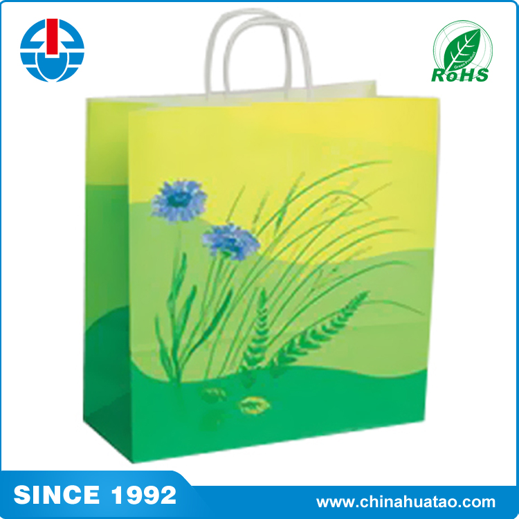 Fugang Custom Green Colour Shopping Paper Bag With Reasonable Price