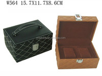 Fancy PU Leaher Covered Wooden Two Pcs Watch Packaging Case or Box With Handle W564