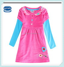 2-6Y (H5622D) Fuchsia newest nova baby clothes ready stock flower dress embroidered kids frocks for autumn