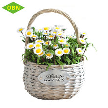 Handmade artificial decorate willow wicker garden plant flower basket for orchid