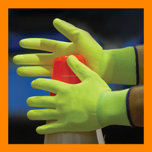 Reflective Neon Green Nylon Knit Glove With Polyurethane Coated Plam And Finger Safety Work PU Traffic Gloves