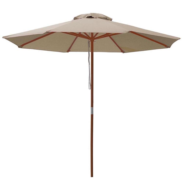 9ft Brown fabric easy foldable wooden garden patio parasol
