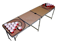 Hot selling 8ft folding beer pong party game table with cup holder