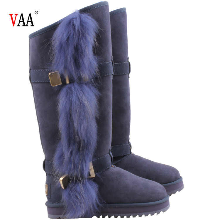 AN-CF-54 Natural Racoon Fur Outside Genuine Leather Over The Knee Genuine Leather Boots Women,Boots Women Shoes Over The Knee
