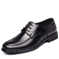 M1452 Lace up men's soft black leather shoes