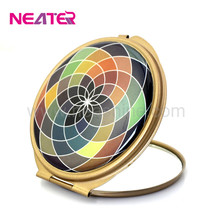 Fashional Splendid round folding cosmetic baby double side mirror with fashional epoxy paint,metal mirror with crystl sticker