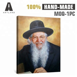 High quality custom old men smile face portrait oil painting