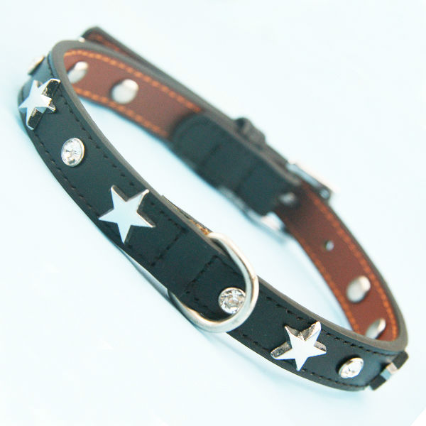Good quality black pet leather collar with five-pointed shining star and crystal